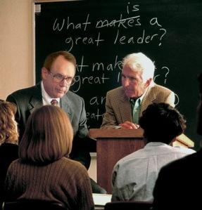 Prof Warren Bennis (right) with USC president Steven Sample